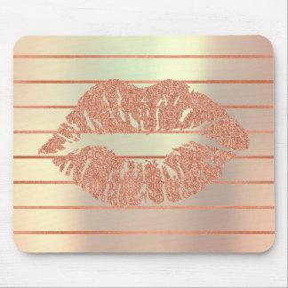 White Rose Gold Metallic Copper Stripes Lips Kiss Mouse Pad