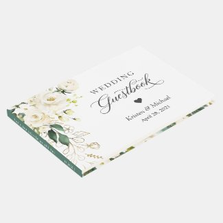 White Rose Greenery Gold Floral Wedding Guest Book