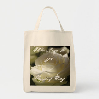White Rose Grocery Tote Bags