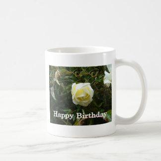 White Rose Happy Birthday Classic White Coffee Mug