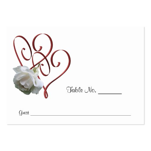 White rose heart wedding table place cards large business for Table placement cards templates