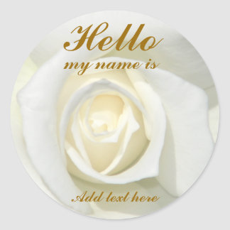 White Rose, Hello_ Classic Round Sticker