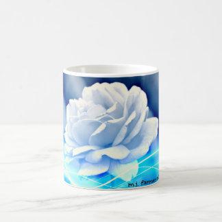 White Rose in Blue Hues Classic Coffee Mug