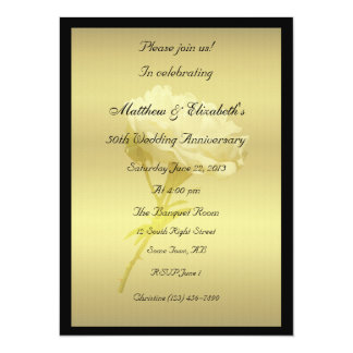 White Rose in Golden Hues Anniversary 5.5x7.5 Paper Invitation Card