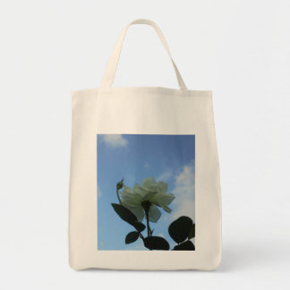 White Rose In The Blue Sky Grocery Tote Bag