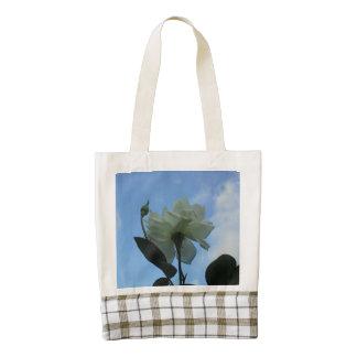 White Rose In The Blue Sky Zazzle HEART Tote Bag