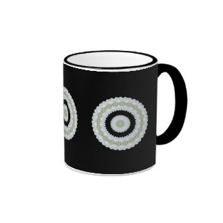 White rose kaleidoscope coffee mug