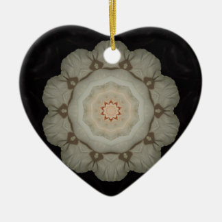 White Rose Kaleidoscope Heart Christmas Ornament