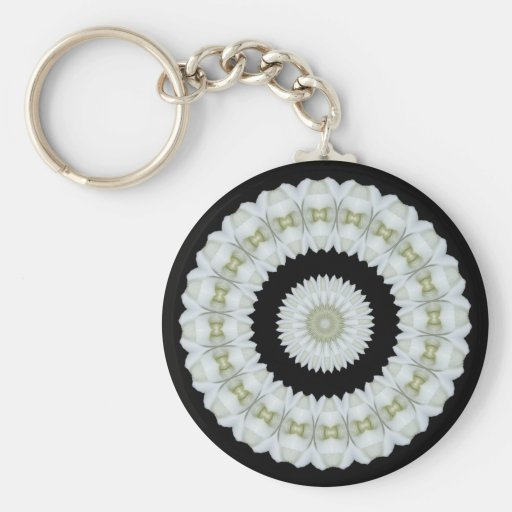 White rose kaleidoscope key chain