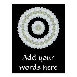 White rose kaleidoscope postcard