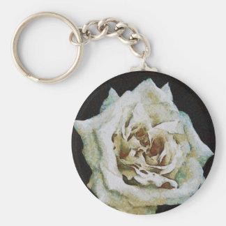 White Rose Keychain