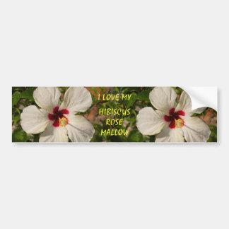 White Rose Mallow Hibiscus Flower Bumpersticker Car Bumper Sticker