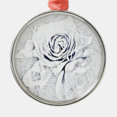White rose metal ornament
