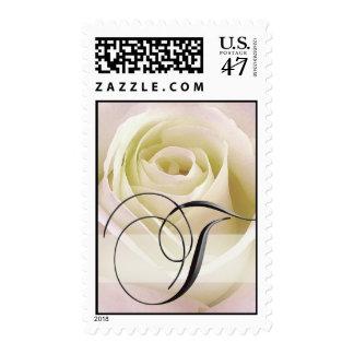 White Rose Monogram Stamp - Initial T
