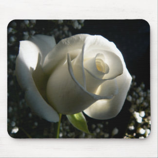 White Rose Mouse Pad