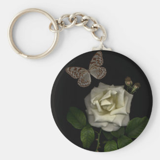 white rose  n butterfly keychain