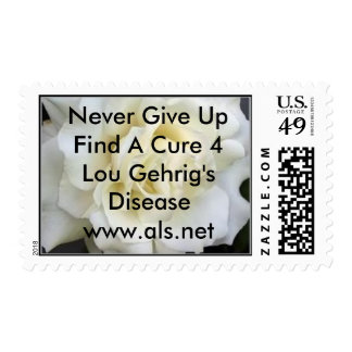 White_Rose,     Never Give Up   Le... - Customized Postage Stamps