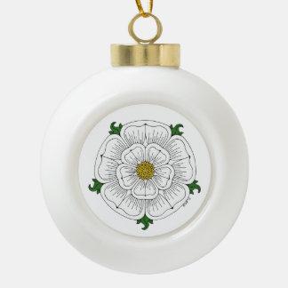 White Rose of York Ceramic Ball Christmas Ornament