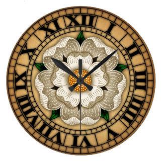 White Rose Of York Large Clock