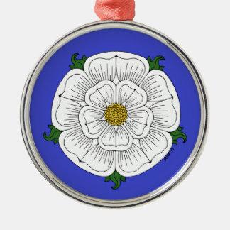 White Rose of York Metal Ornament