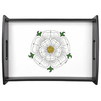 White Rose of York (on white) Serving Tray