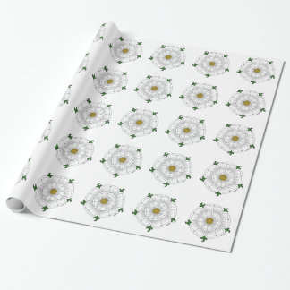 White Rose of York on White Wrapping Paper