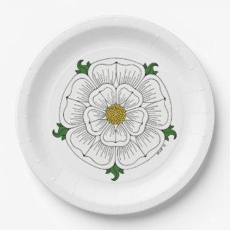 White Rose of York Paper Plate