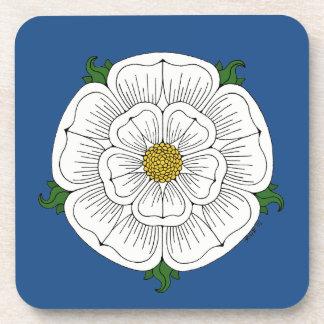White Rose of York Plastic Coasters