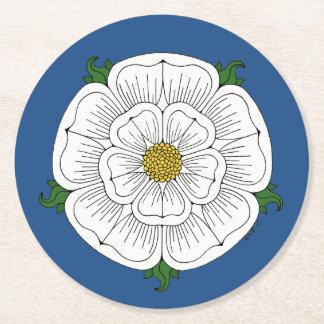 White Rose of York Round Paper Coaster