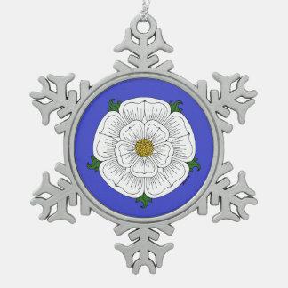 White Rose of York Snowflake Pewter Christmas Ornament