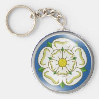 White Rose of Yorkshire Flag Keychain