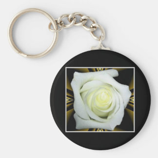 White Rose on Black and Gold Background Keychains