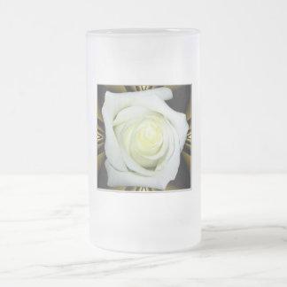White Rose on Black and Gold Background Mugs