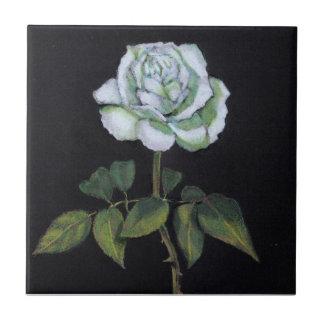 White Rose on Black Background: Color Pencil Tile