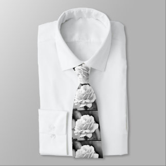 White Rose on Black Neck Tie