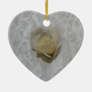 White Rose on Lace Ornament
