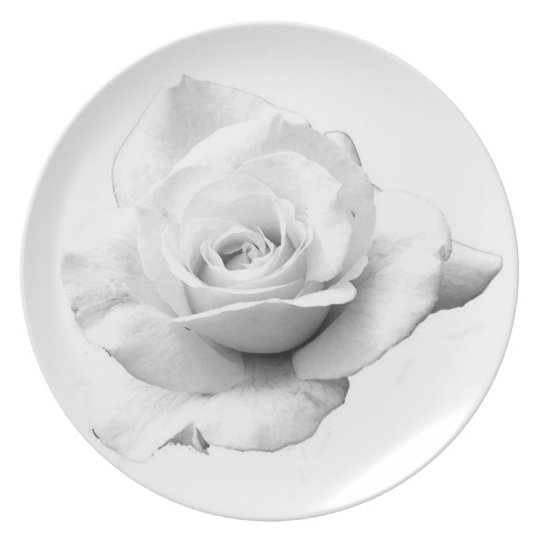 White Rose On Melamine Plate