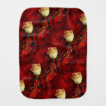 White rose on red background baby burp cloths