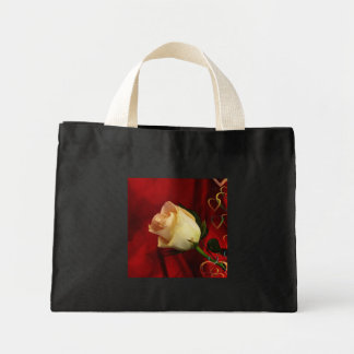 White rose on red background bags