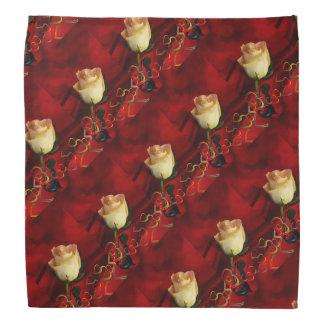 White rose on red background bandana