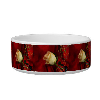 White rose on red background bowl