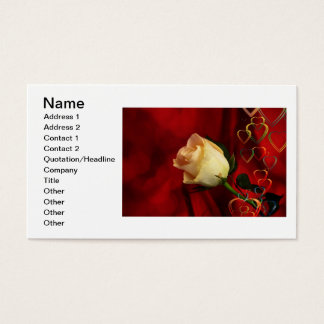 White rose on red background business card