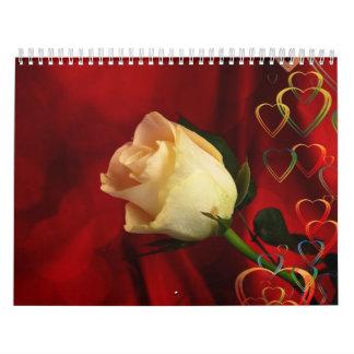 White rose on red background calendar