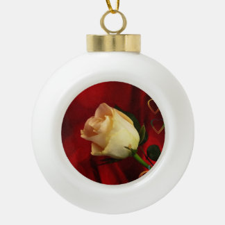 White rose on red background ceramic ball christmas ornament