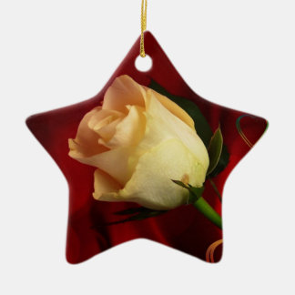 White rose on red background ceramic ornament