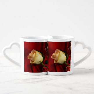 White rose on red background couples coffee mug