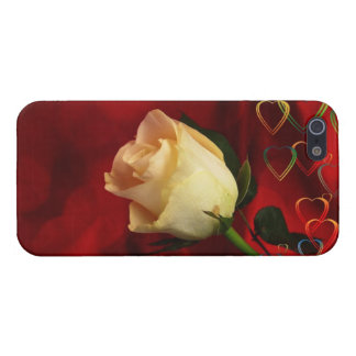 White rose on red background cover for iPhone SE/5/5s