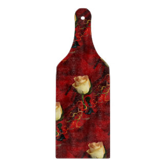 White rose on red background cutting boards