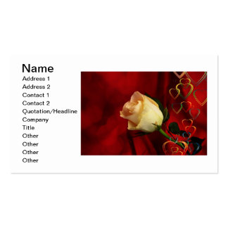 White rose on red background Double-Sided standard business cards (Pack of 100)