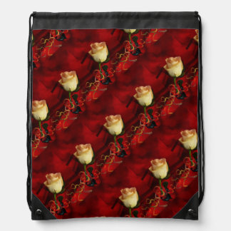 White rose on red background drawstring bags